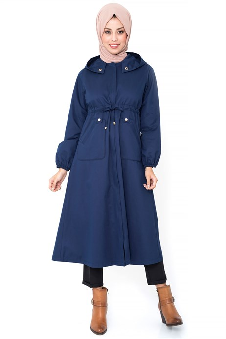 Hidden Zippered Light Navy Blue Trench Coat
