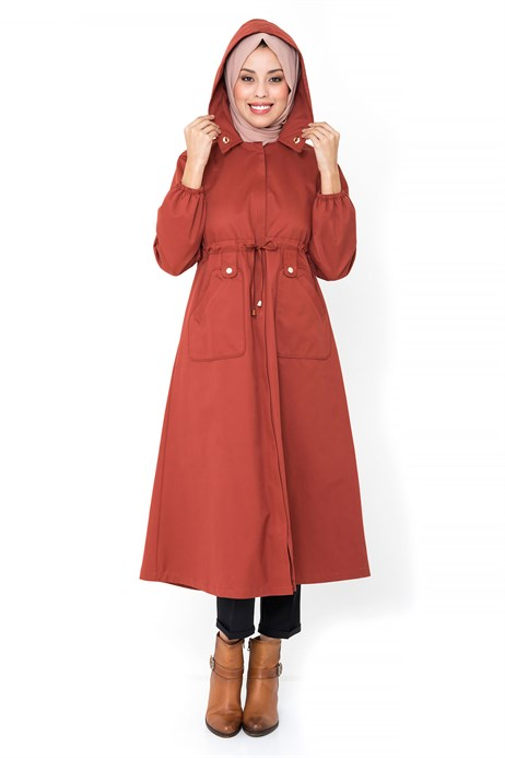 Hidden Zippered Brick Color Trench Coat