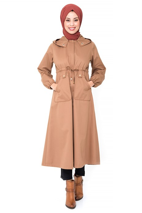 Beyza-Hidden Zippered Ginger Trench Coat