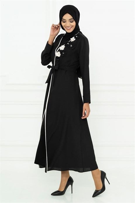 Beyza-Rose Designed Black Abaya 3M3116