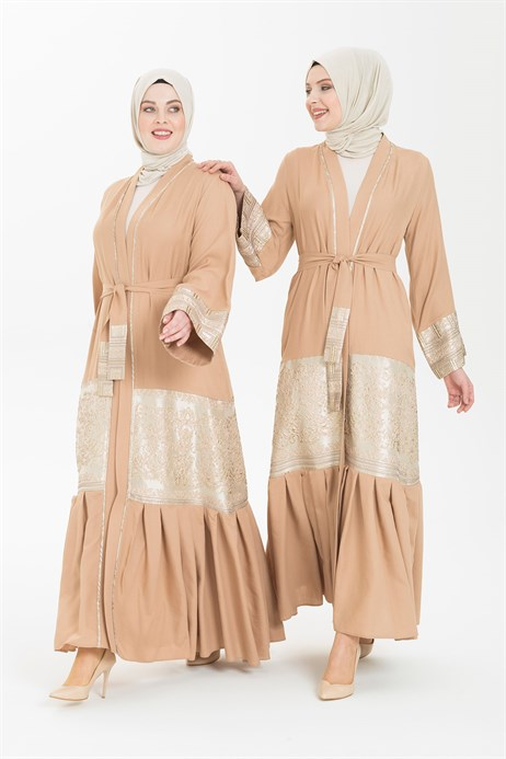 Light Linen Beige Abaya 3341