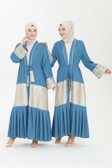 Light Linen Indigo Abaya 3341