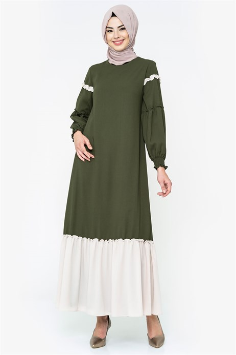 Two-colored Khaki Modest Dress