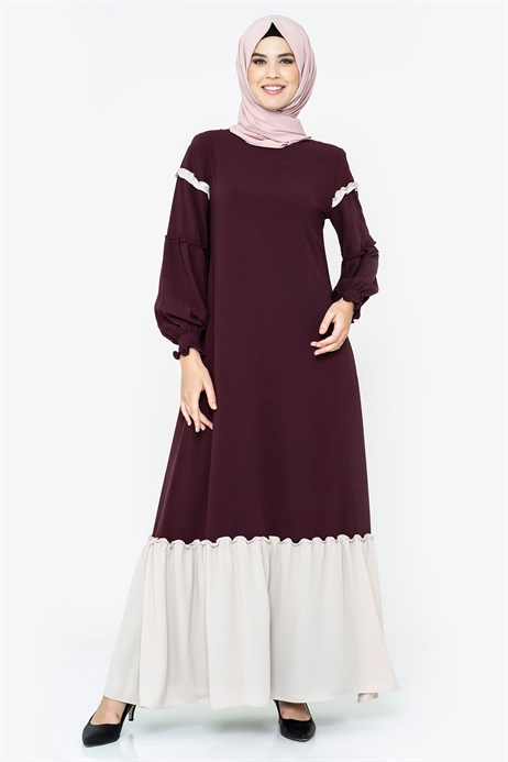Two-colored Damson Modest Dress