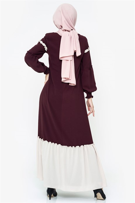Beyza-Two-colored Damson Modest Dress