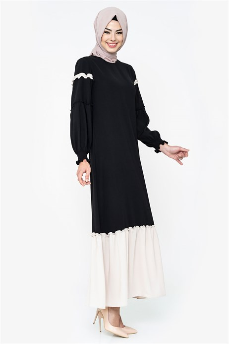 Beyza-Two-colored Black Modest Dress