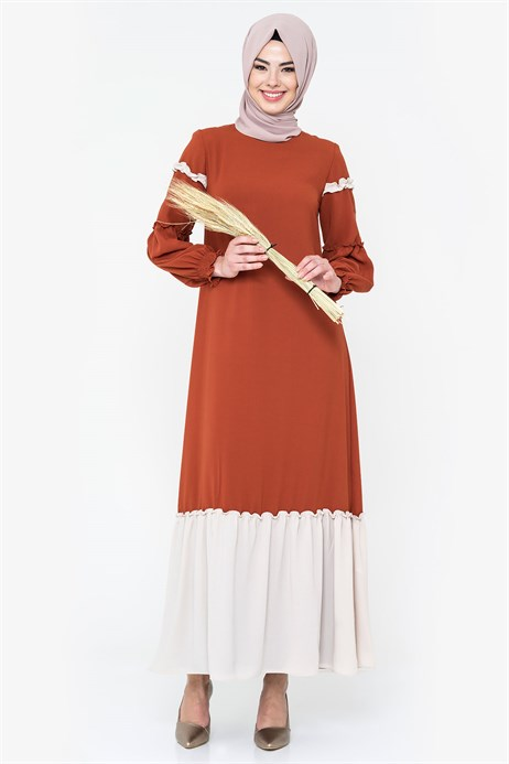 Two-colored Cinnamon Modest Dress