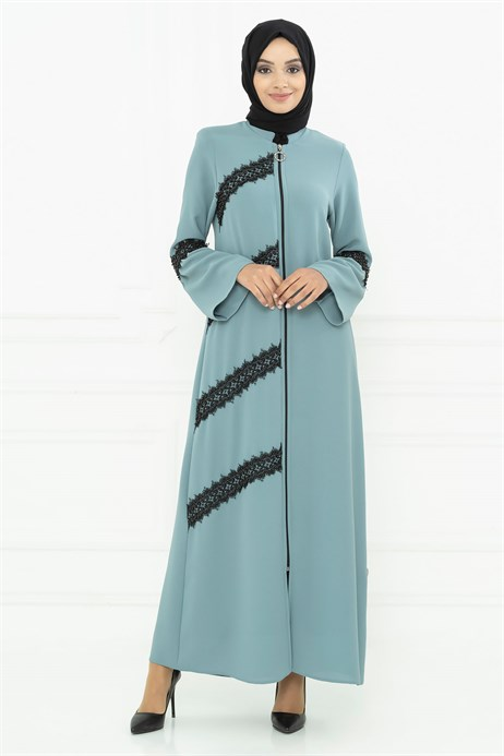 Pearl Detailed Mint Green Abaya 3M3033