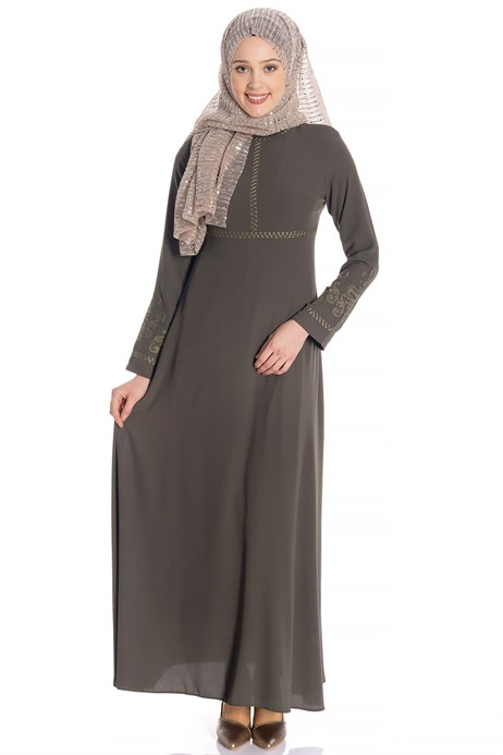 Beyza-Canvas Ornamented Khaki Modest Dress