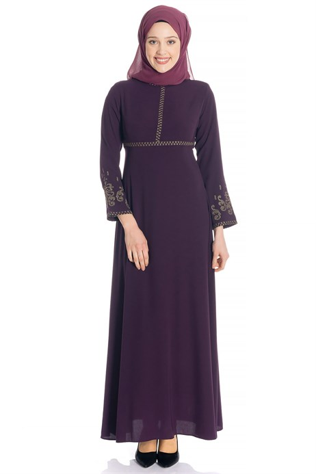 Canvas Ornamented Purple Modest Dress