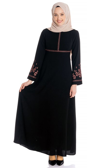 Canvas Ornamented Black Modest Dress