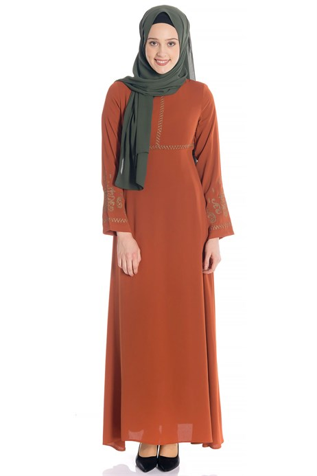 Canvas Ornamented Cinnamon Modest Dress