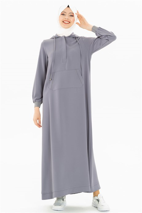 Beyza-Hoodie Grey Sports Modest Dress 3M5219