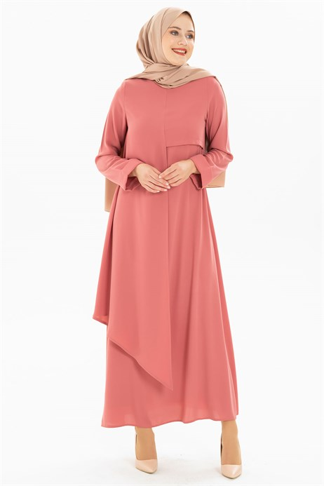 Layer Detailed Dusty Rose Modest Dress 3M5155