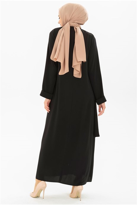 Beyza-Layer Detailed Black Modest Dress 3M5155