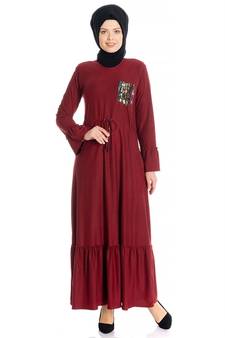 Belted Claret Red Suede Modest Dress