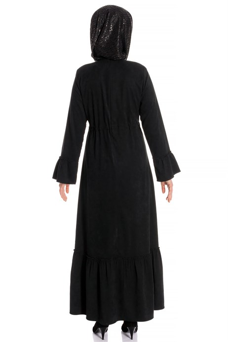 Beyza-Belted Black Suede Modest Dress