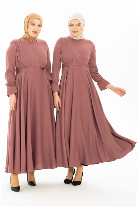 Flared Dusty Rose Modest Dress 5214
