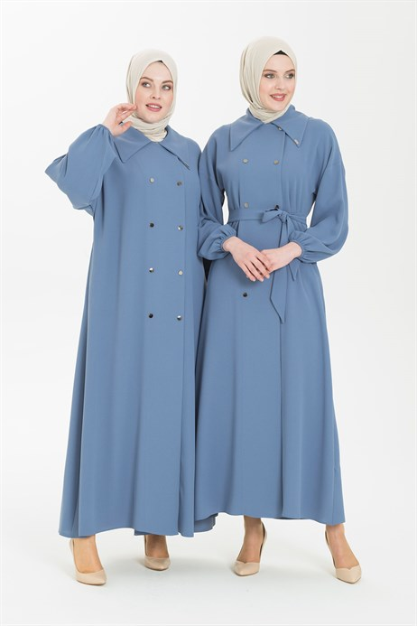 Blue Abaya with Double Breast Collar 3372