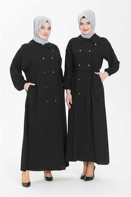Black Abaya with Double Breast Collar 3372