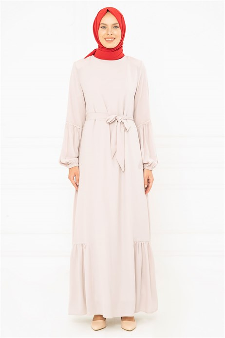 Light Powder Modest Dress with Sash 3M794