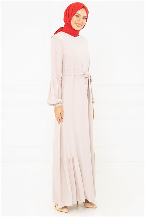 Beyza-Light Powder Modest Dress with Sash 3M794