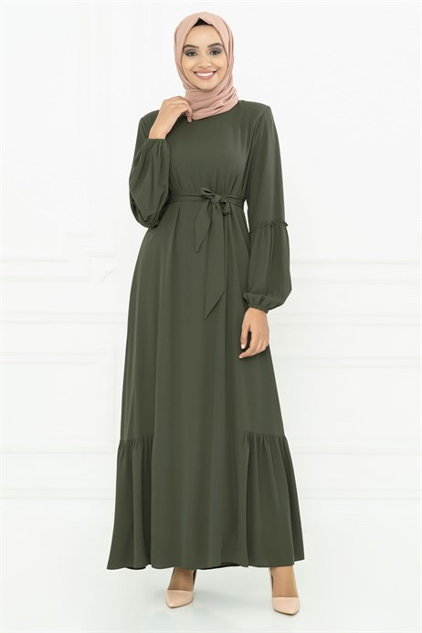 Khaki Modest Dress with Sash 3M794