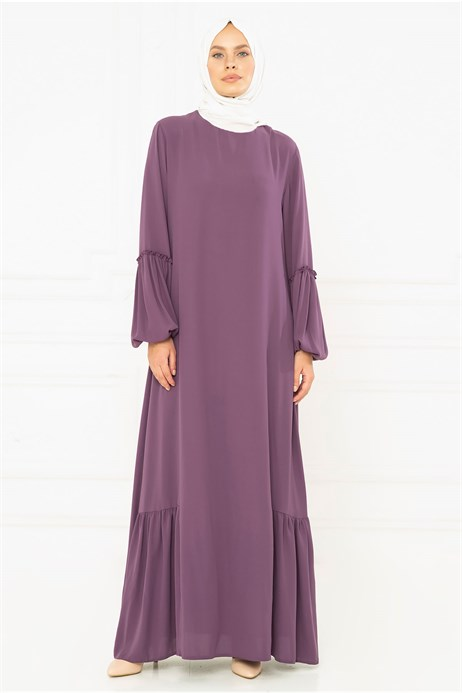 Mauve Modest Dress with Sash 3M794