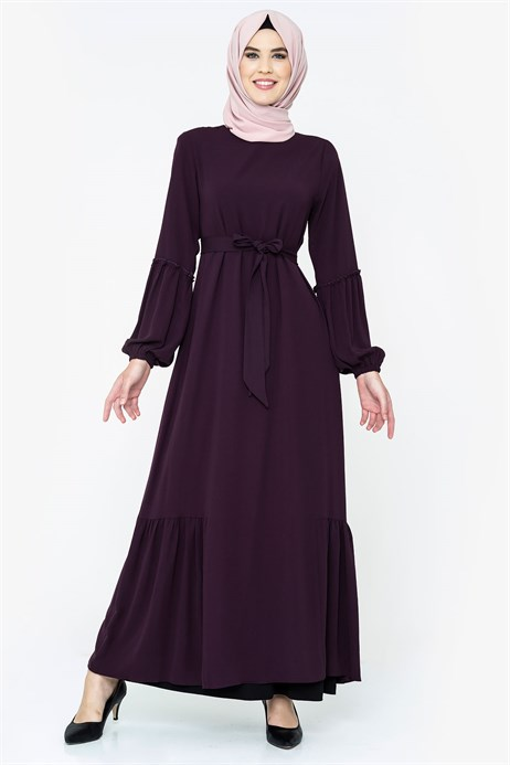 Damson Modest Dress with Sash