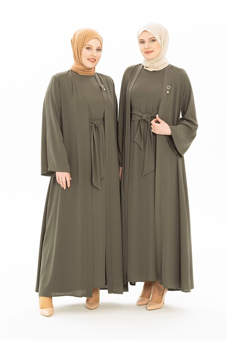 Khaki Abaya Set with Sash 3249