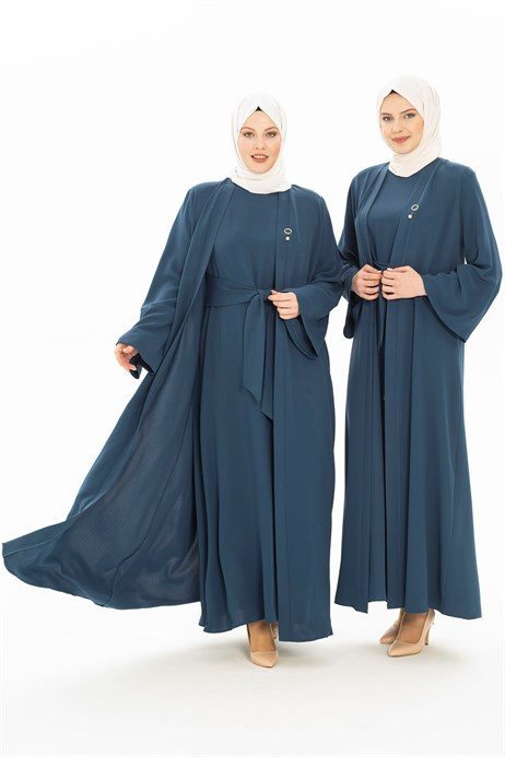 Indigo Abaya Set with Sash 3249