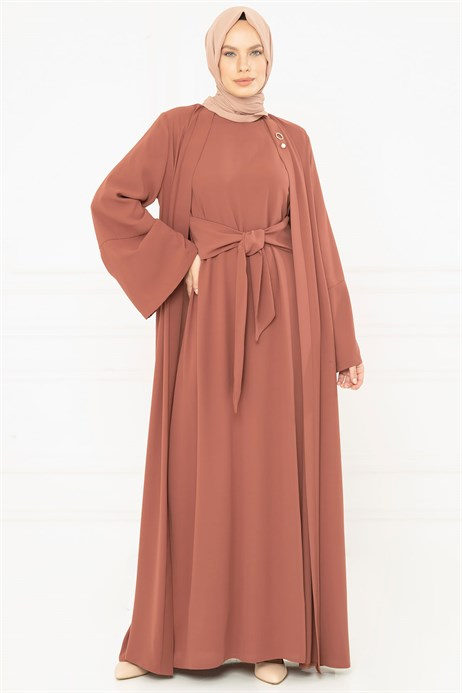 Cinnamon Abaya Set with Sash 3M3249