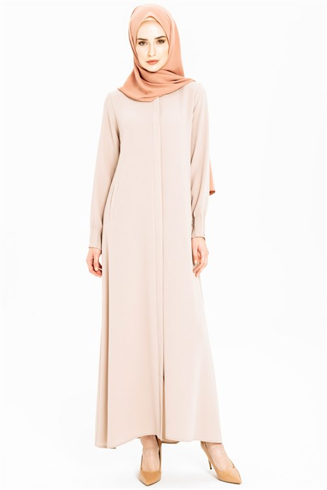 Minimally Detailed Beige Abaya 3M3211