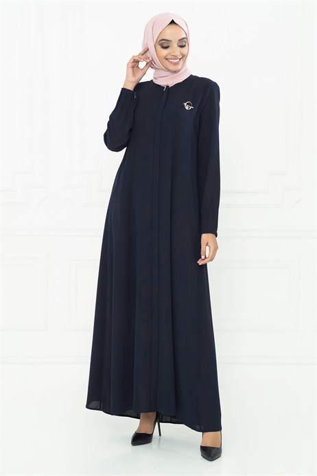 Minimally Detailed Navy Blue Abaya 3M3211
