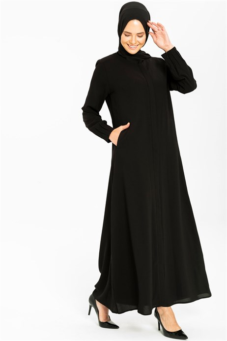 Beyza-Minimally Detailed Black Abaya 3M3211