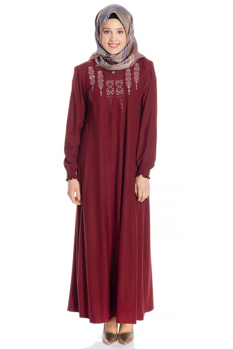 Neck Ornamented Claret Red Suede Modest Dress