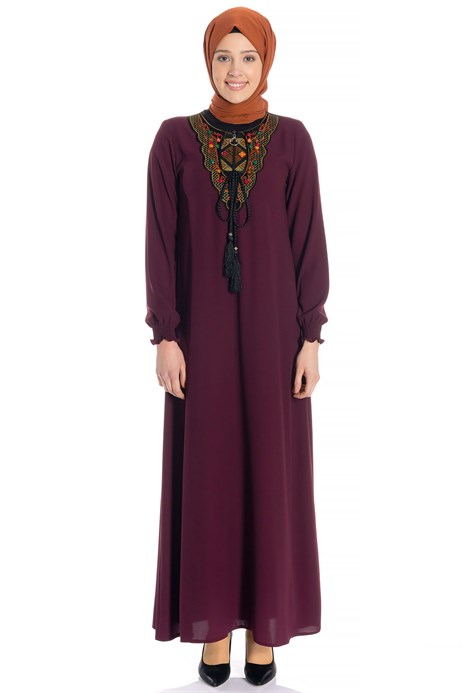 Neck Ornamented Claret Red Modest Dress 3M746