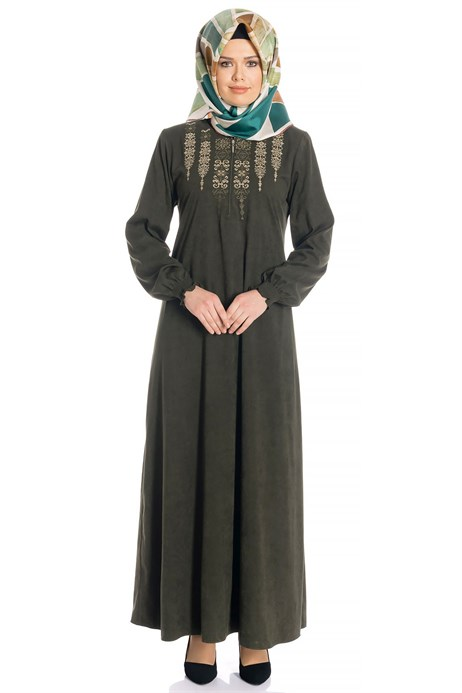 Ornamented Khaki Suede Modest Dress