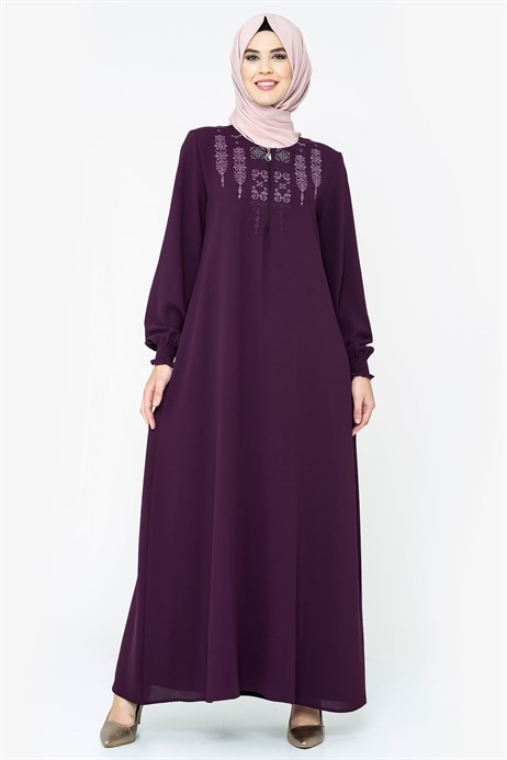 Ornamented Damson Modest Dress