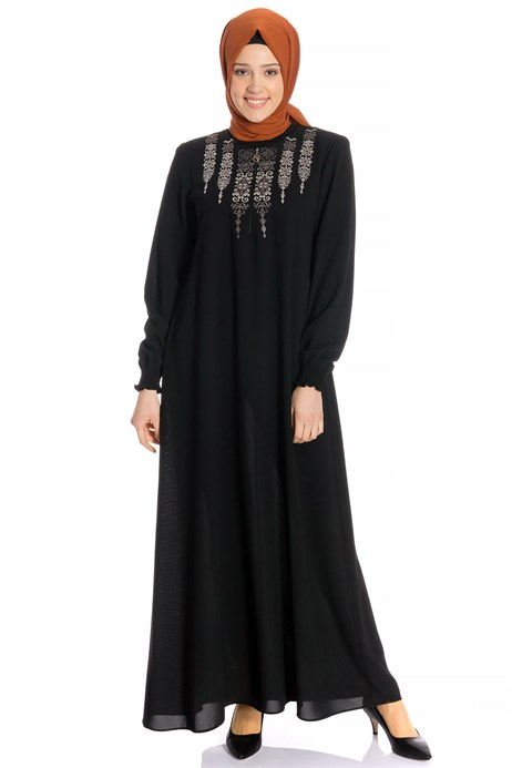 Ornamented Black Modest Dress