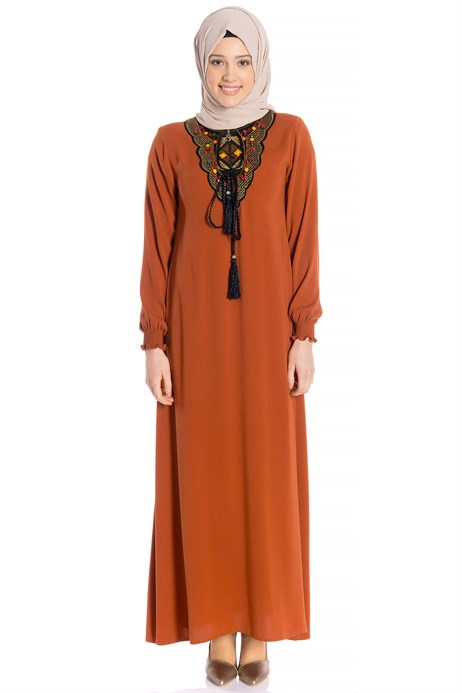Neck Ornamented Cinnamon Modest Dress 3M746
