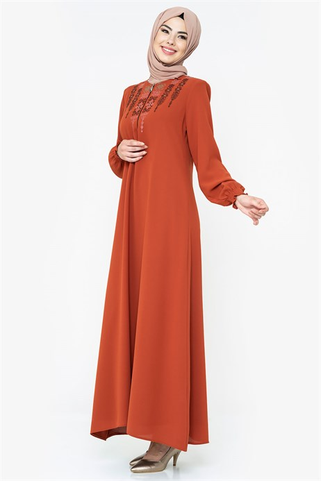 Beyza-Ornamented Cinnamon Modest Dress