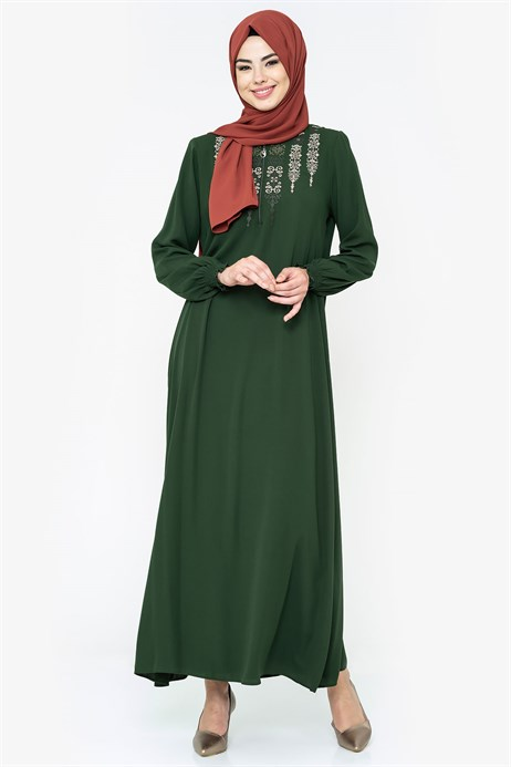 Ornamented Green Modest Dress