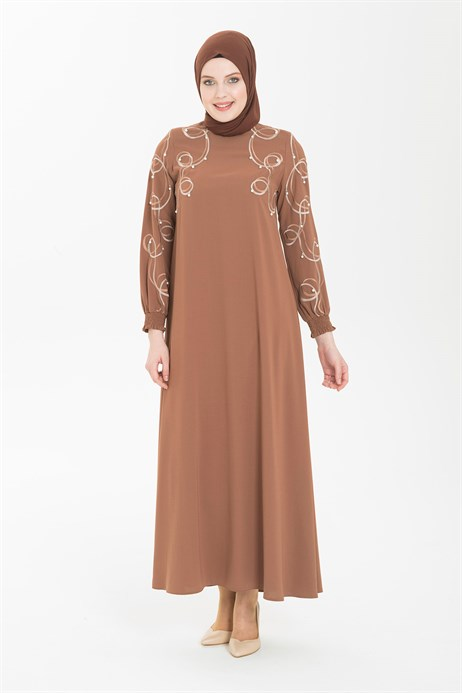 Embroidery and Pearl Detailed Brown Hijab Dress 5241