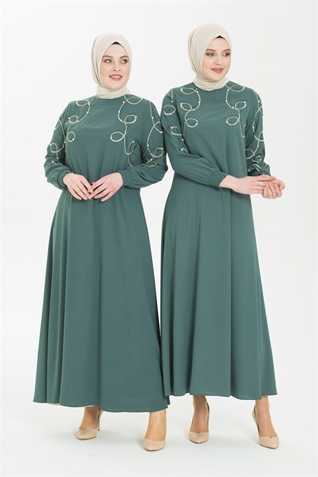 Embroidery and Pearl Detailed Mint Hijab Dress 5241