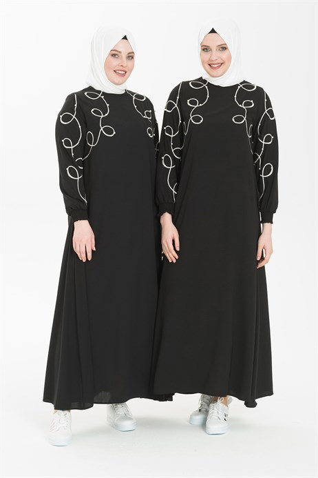 Embroidery and Pearl Detailed Black Hijab Dress 5241
