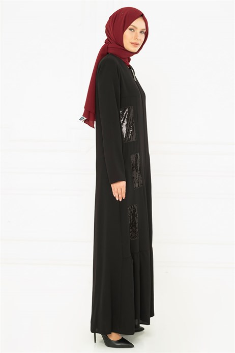 Beyza-Spangle Detailed Black Abaya 3M3200