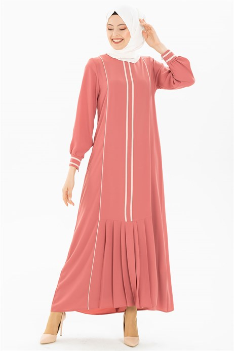 Pipe and Pleat Detailed Dusty Rose Dress 3M5179