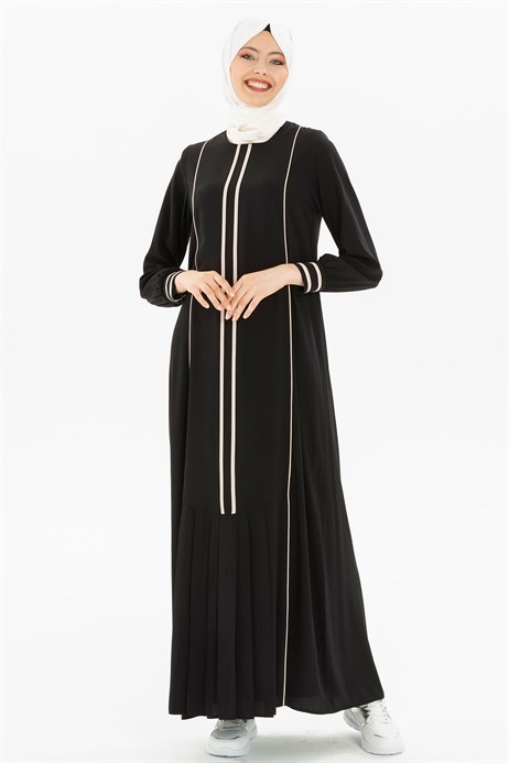 Pipe and Pleat Detailed Black Dress 3M5179