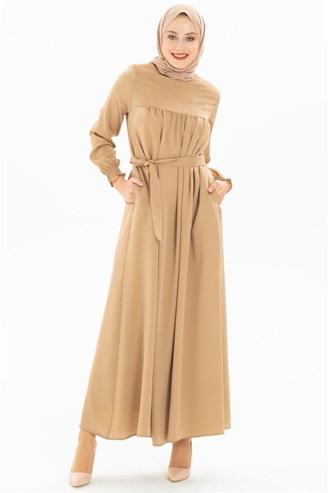 Corso Satin Beige Modest Dress 3M629